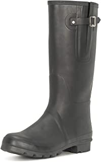 Mens Tall Adjustable Side Waterproof Rubber Wellie Wellington Rain Boots