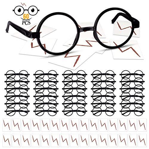 TUPARKA 30 Pezzi di Montature per Occhiali Rotondi Senza Lente e 30 Pezzi di Tatuaggi Lampo per Bambini Cosplay di Festa di Halloween di San Patrizio