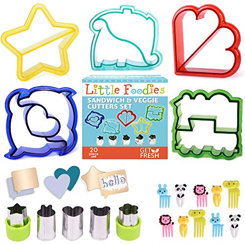 Sandwich Cutters for Kids, 20-Piece Set, 5 Kid Sandwich Cutters Shapes, 5 Vegetable Cutters Shapes, 10 Bento Deco