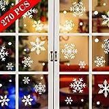 Tuopuda Weihnachtssticker 270 Stück Schneeflocken Fenstersticker Weihnachten PVC Statisch Haftende