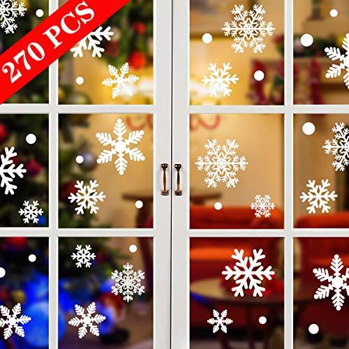 Tuopuda 270 PCS Finestra Natale Vetrofanie Adesivo Fiocco Di Neve Natale Adesivi Murali Rimovibile Vetrofanie Fai Da Te Wallpaper Senza Colla Stickers Finestra Decorazione 135 PCS Focco Di Neve
