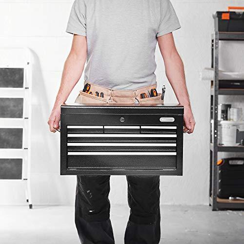 Boîte à outil Servante VonHaus - rangement portable pour outils à main/pièces/embouts avec poignée de transport et tiroirs antidérapants - protégée par un verrou et une clé