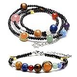 Jovivi Juego de joyas de cristal Beads pulsera + collar terapia energética planeta asteroide, sistema solar, piedra, pulsera enroscable negra