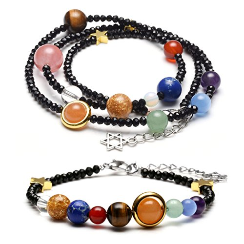 Jovivi Schmuck Set Glas Beads Armband + Halskette Energietherapie Planet Asteroid Sonnensystem Stein Armreif Wickelarmband Schwarz