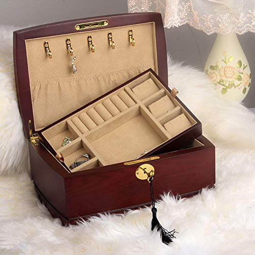 DZX Solid Wood Jewelry Chest,Vintage Lockable Jewelry Box,Two-layer Jewelry Holder For Earrings Necklace Ring A