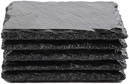 Slate Stone Drink Coasters Set of 5 Square Black Natural Edge Stone Drink Coasters for Bar and product image