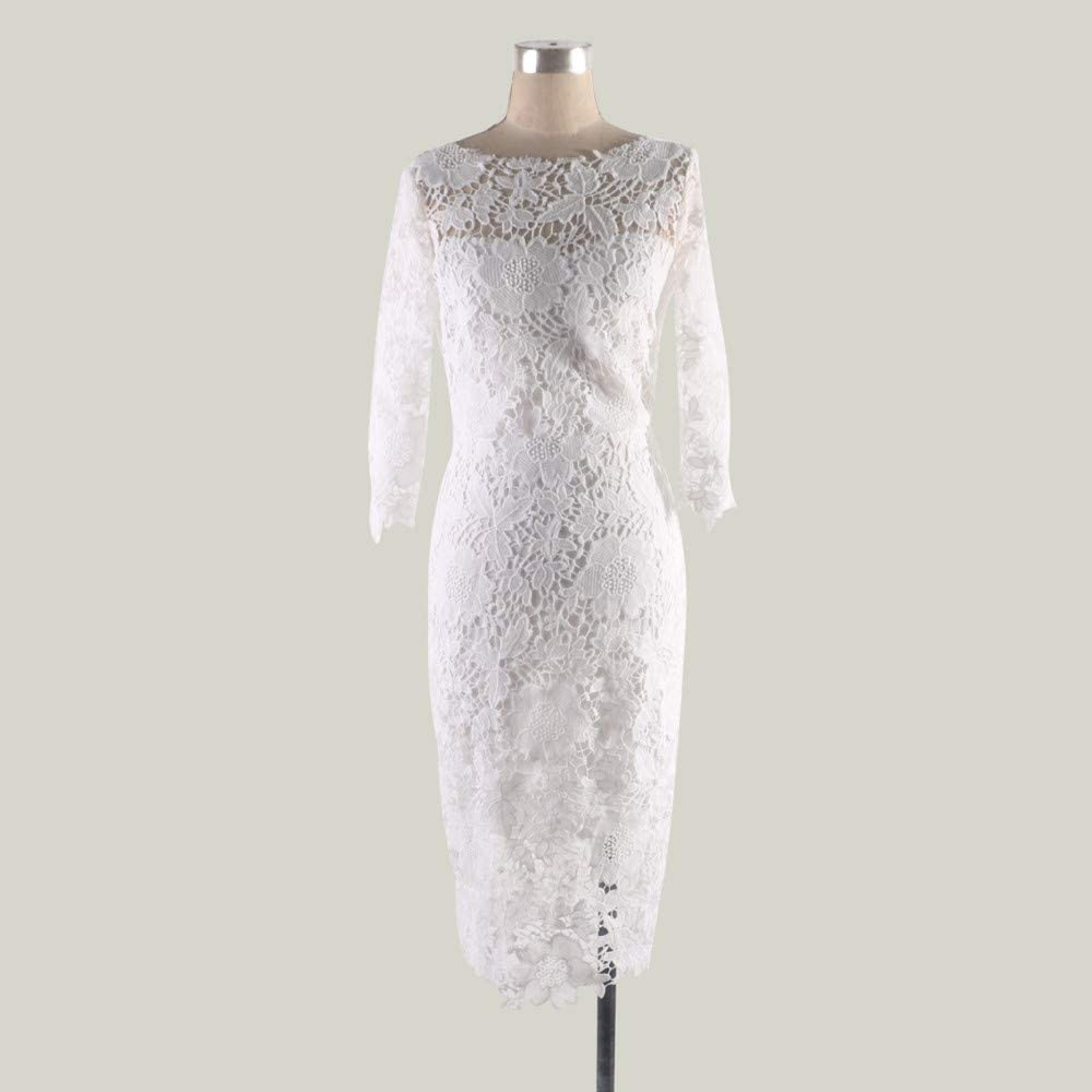 Womens Lace Sheath Dress Slim Fit Midi Dress