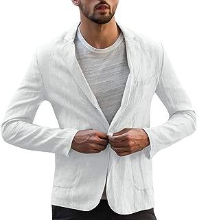 Men's Slim Fit Tops Linen Blend Solid Jacket Long Sleeve Suits Blazer Outwear