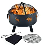 Y-ME Wood Burning Fire Pit Outdoor Patio Campfire Backyard Fireplace,Round Steel Deep Bowl Fire...