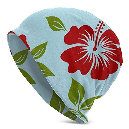deyhfef Gorro de lana con diseño de flor de hoja y flor de Navidad, con nariz roja, para hombres y mujeres, cálido, unisex, con puños lisos, con diseño de calavera