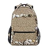 Schulrucksack Büchertasche Strand Sand Muschel Rucksack Daypack Wasserdicht für Schule Reisen Mädchen Jungen Teenager