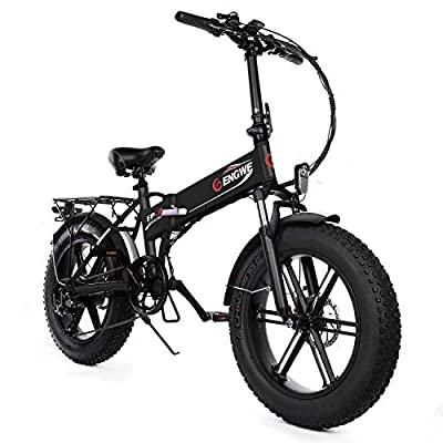 """ENGWE Electric Mountain Bicycle 500W 20"""" Fat Tire Electric Folding Beach Snow Bike for Adults, Aluminum Electric Scooter 7 Speed Gear E-Bike with Removable 48V12.5A Lithium Battery (Black)"""