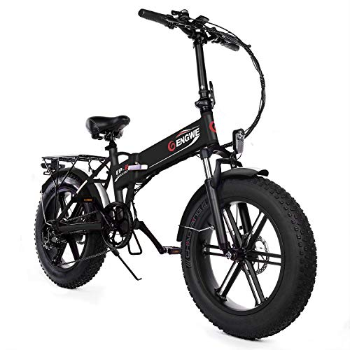 ENGWE Electric Mountain Bicycle 500W 20' Fat Tire Electric Folding Beach Snow Bike for Adults,...