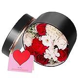 ANSUG Flor de Rosa Artificial Regalo de Ramos de Flores de simulación para Mujeres- combina con Caja de Regalo Redonda Tarjeta de felicitación
