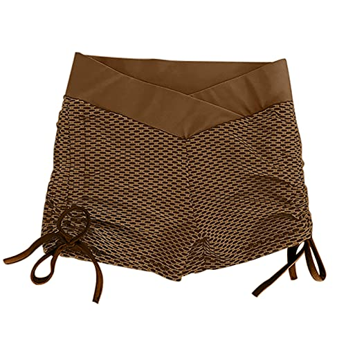 Corumly Pantalones Cortos para Mujer Moda de Moda Pantalones Cortos de Yoga Ajustados a la Cadera de Cintura Alta Pantalones Cortos Estampados de Moda elásticos Ocasionales M