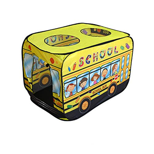 Tents Fire Truck, Police Car Play Ice Cream Van School Bus Pop Up for Kids, Lightweight Playhouse with Skylight (Color : Yellow, Size : 110 * 72 * 72CM)