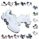 PLMOKN Roller Skates for Women's 4 Wheel Adjustable Quad Roller Skates Boots,2-in-1 Multi-Purpose Shoes,Boys Girls Universal Walking Shoes,A-9