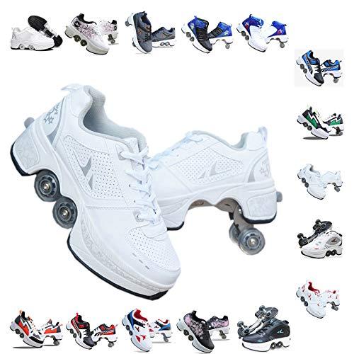 Plmokn Rollschuhe für Damen mit 4 Rädern, verstellbar, 2-in-1-Mehrzweck-Schuhe, für Jungen und Mädchen, universale Laufschuhe, a, 33