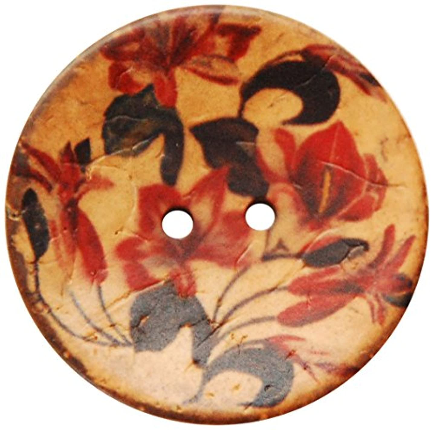 The Button Company 38 mm Printed Floral Coconut Wood Button, Dark Red