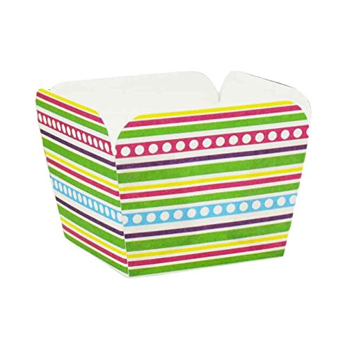 PANDA SUPERSTORE 100 Pcs Heat-Resistant Cupcake Paper Baking Cup Square Muffin Cup, Rainbow