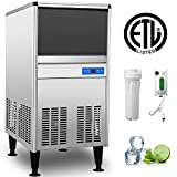 VEVOR 110V Commercial Ice Maker 95LBS/24H with 50LBS Bin, Heavy Duty Stainless Steel Construction, Auto Clean, Clear Cube, Air-Cooled, Include 2 Water Filters, Drain Pump, 2 Scoops, Connection Hose