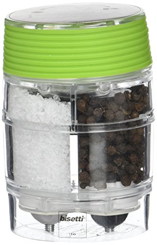 Bisetti 8304 Pfeffermühle + Salzmühle, Acryl, 9,5 cm, Transparent/Grün