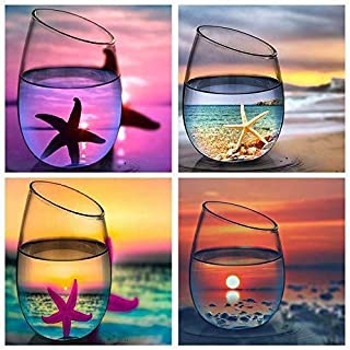 KOTWDQ 4 Pack Diamond Painting Kits for Adults Kids Set Cups Full Drill for Home Wall Decor