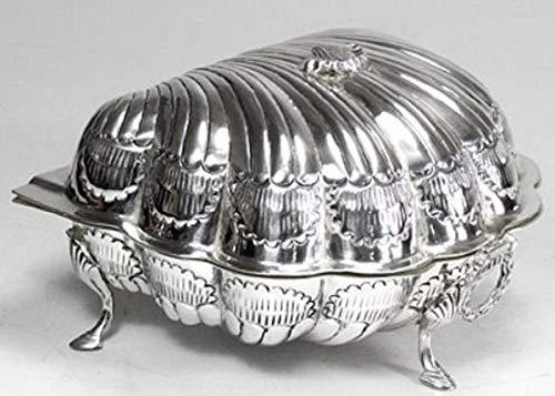 Casa Padrino Jugendstil Schatulle mit Deckel Silber 19 x 19 x H. 12 cm - Barock & Jugendstil Deko...