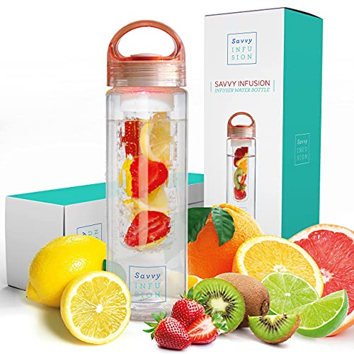 Savvy Infusion Water Bottles - Fruit Infuser Bottle with Leak Proof...