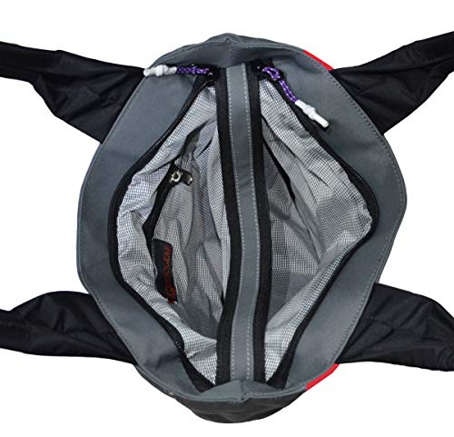 Pesogear Smart-Girl Women's Multi-pocket Polyester Nylon Hand Shoulder Bags Totes Purses Hobo, Grey, Black & Red