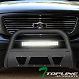 Topline Autopart Matte Black Studded Mesh Bull Bar Brush Push Front Bumper Grill Grille Guard With Skid Plate + 120W CREE LED Fog Light For 97-03 Ford F150 / F250 / 04 Heritage / 97-02 Expedition