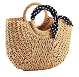 YXILEE Summer Beach bag,Handmade Large Straw Tote Bag Womens Handbag (Khaki)