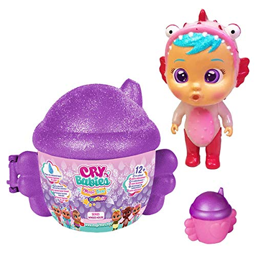 Cry Babies Magic Tears Winged House Series - Mini Chilloncitos - ( Color Grape UVA y Muñeco Aleatorio )