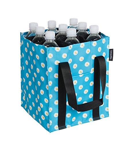 Amazon Basics - Bolsa para botellas, 9 compartimentos, botellas de 0,75 l, Azul impreso