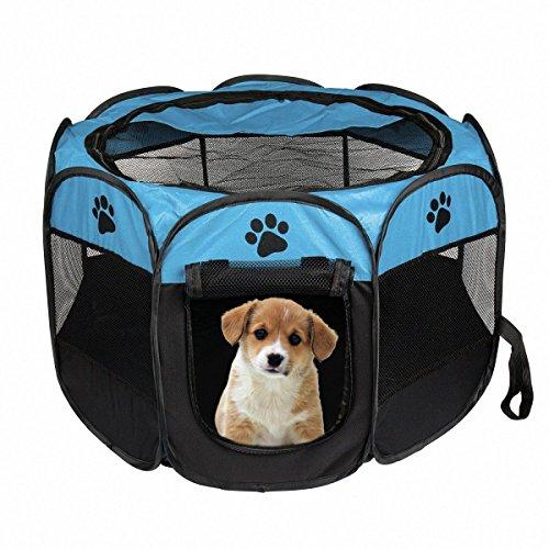REFURBISHHOUSEtragbares faltbares Zelt der Haustier Haus von Hund Cage Hund Katze Zelt Laufstall Welpen Zwinger einfache Operation Achteckige Zaun #B