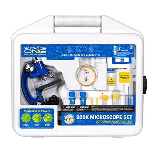 Explore ONE Beginner Microscope for Kids - 100X, 400X & 900X Magnification, Compact Size & Sturdy Build - Perfect for at Home and School. Comes with Hard-Shell Case