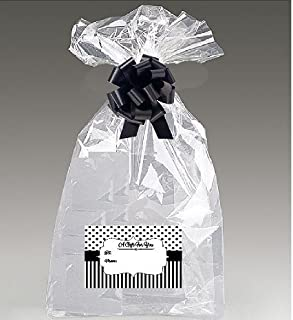 Extra Large Super Jumbo Clear Cello/cellophane Bags Gift Basket Packaging Bags Cello Bags 30 x 40 with Bows & Tags - 2Pack (Black Polka Stripes 2Pack)
