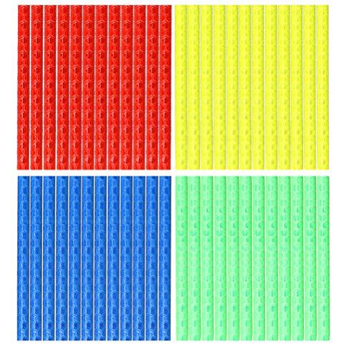 kuou Bike Spoke Reflector, 4 Pack / 48 Pcs Bicycle Cycling Reflective Clips, Cycle Wheel Reflective Tube Warning Strip|(Blue, Green, Red,Yellow)