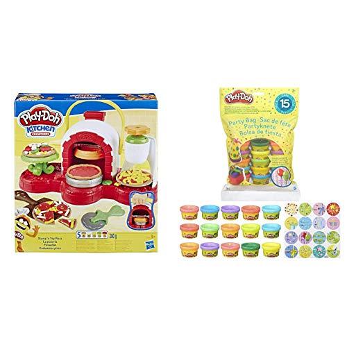 Hasbro Play-Doh La Pizzeria con Pack di 15 Vasetti, Playset a Tema Pizzeria con 5 Vasetti e 15 Vasetti di Pasta da Modellare