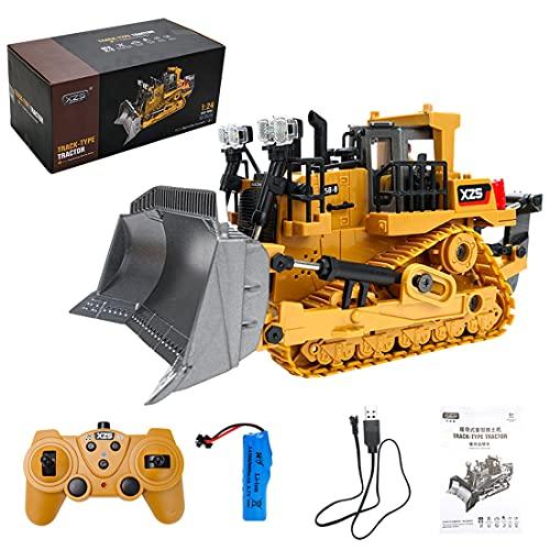 BOBX RC Bulldozer Ferngesteuert, 1031 1:24 2.4G, Radlader Spielzeug Ferngesteuert Radlader Liebherr Metall Radlader Fahrzeug Ferngesteuert mit LED Lichter und Soundeffekte für Kinder und Erwachsene