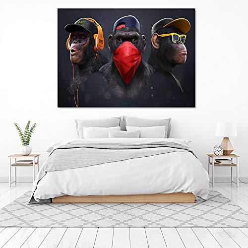 """Pintura sobre lienzo Pintura decorativa de pared Gorila de gran tamaño para sala de estar Cartel e impresión Cuadros de pared de mono Quadros 70x120cm (27.6""""x47.2"""") Sin marco"""