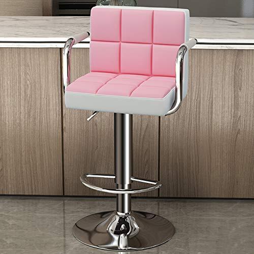 Barstolar,Barnstol med väl stoppad ryggstöd,Frukost barstol Counter Kitchen Swivel Chair,Justerbar höjd och 360 ° rotationsstolar,Pink,44×38×56cm