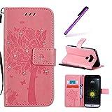 EMAXELERS Funda LG G5 Premium PU Cuero Cartera para Tarjetas y Cierre Magnetico Soporte Plegable Funda Protectora para LG G5 Pink Wishing Tree with Diamond