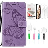STENES Wallet Phone Case Compatible with LG G5 - Stylish Series Butterfly Design Stand Leather Cover with Screen Protector & Cable Protector - Purple