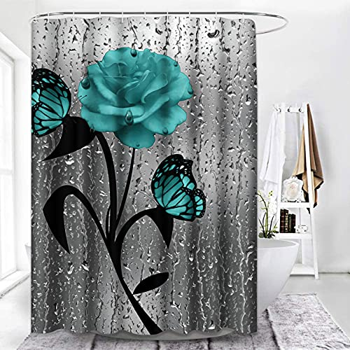 ArtSocket Shower Curtain Green Flower Blue Rose Bright Colored Floral Beautiful Abstract Waterproof Polyester Fabric Bathroom Decor Bath 72 x 72 Inches Set with Hooks