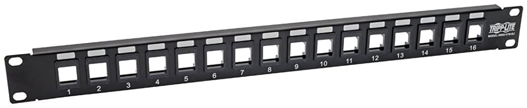 Tripp Lite 16-Port Keystone Blank Patch Panel RJ45, USB, HDMI, Cat5e / Cat6 Rackmount Unshielded 2URM TAA (N062-016-KJ)