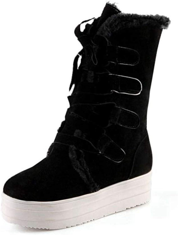 Hoxekle Women Winter Warm Snow Short Boots Ladies Sweet Mid Calf Botas Woman lace-ups shoes