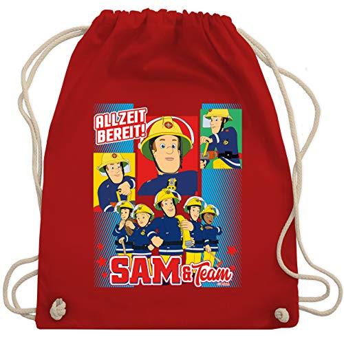 Shirtracer Feuerwehrmann Sam Tasche - Allzeit bereit! - Sam & Team - Unisize - Rot - Geschenk - WM110 - Turnbeutel und Stoffbeutel aus Baumwolle