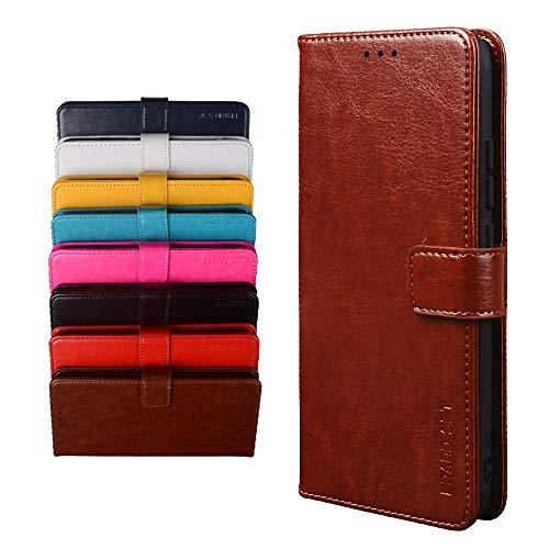 BRAND SET Schutzhülle für TP-Link Neffos X20 Handyhülle Brieftasche Kunstleder mit Magnetverschlussverriegelung & Stent-Funktion Geeignet Flip Handyhülle für TP-Link Neffos X20(Braun)