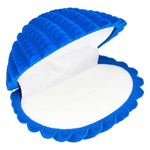 EYS JEWELRY® Schmuck-Etui für Ring 65 x 55 x 30 mm Samt blau Ring-Box Schachtel Schatulle Geschenk-Verpackung EYSBOX Muschel